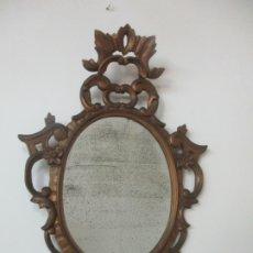 Antigüedades: ANTIGUO ESPEJO, CORNUCOPIA - MADERA TALLADA Y DORADA EN PAN DE ORO - S. XVIII. Lote 174317249