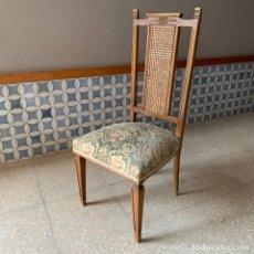 Antigüedades: SILLA DE COMEDOR CON RESPALDO DE REJILLA, BUEN ESTADO. Lote 174344937