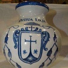 Antigüedades: TARRO DE FARMACIA PANZUDO.QVINA LOJA. SELLO TALAVERA. NUMERADO. Lote 174368997