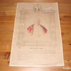 Antigüedades: PAPA PIO X. DOCUMENTO ORIGINAL INDULGENCIA PLENARIA AÑO 1910 .. Lote 174387319