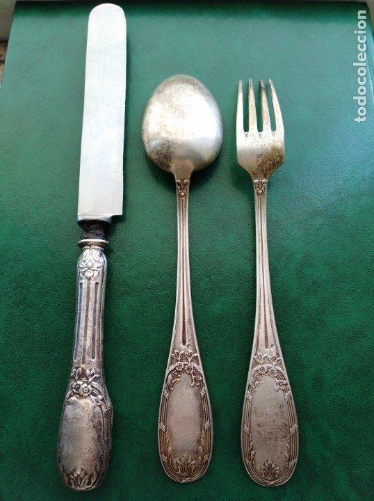 Antigüedades: Juego cubiertos plata de ley Dionisio García punzones plata española - Foto 2 - 174387528