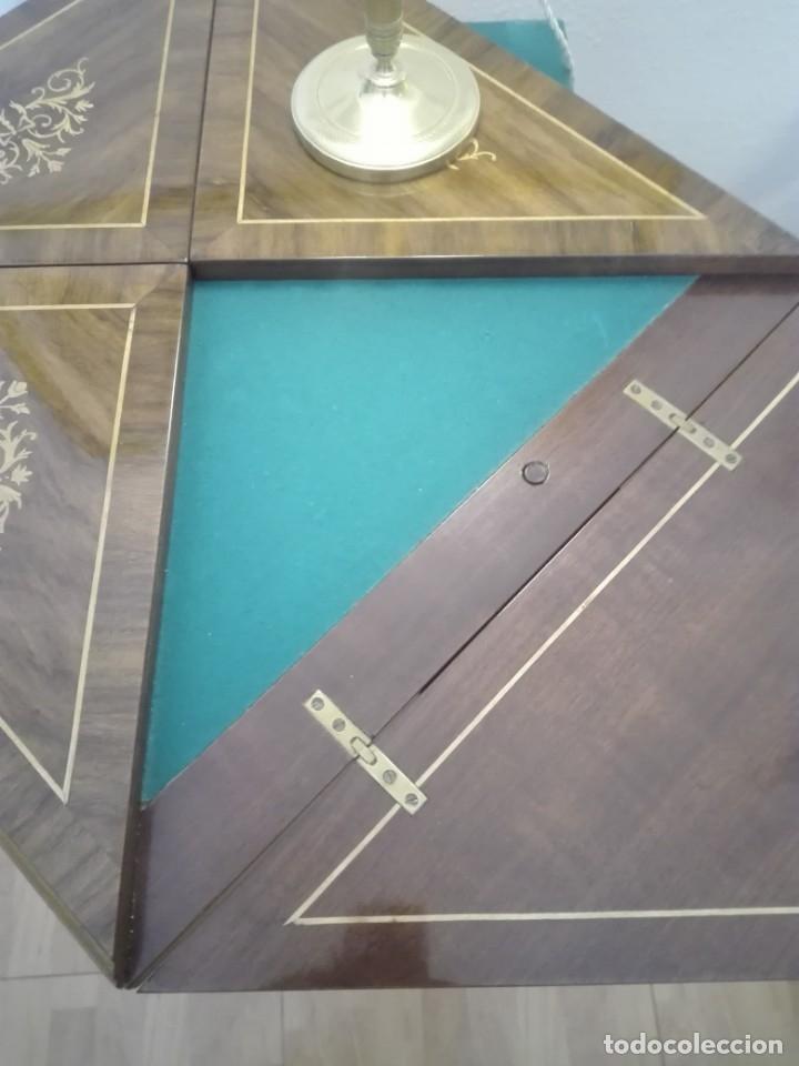 Antigüedades: Mesa de juego de pañuelo. Solo recogida. - Foto 7 - 174403920