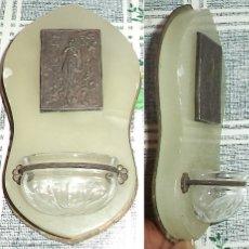 Antigüedades: VINTAGE BENDITERA VIRGEN INMACULADA EN ALABASTRO BRONCE CRISTAL MIDE 11,5/7 CM . Lote 174414699