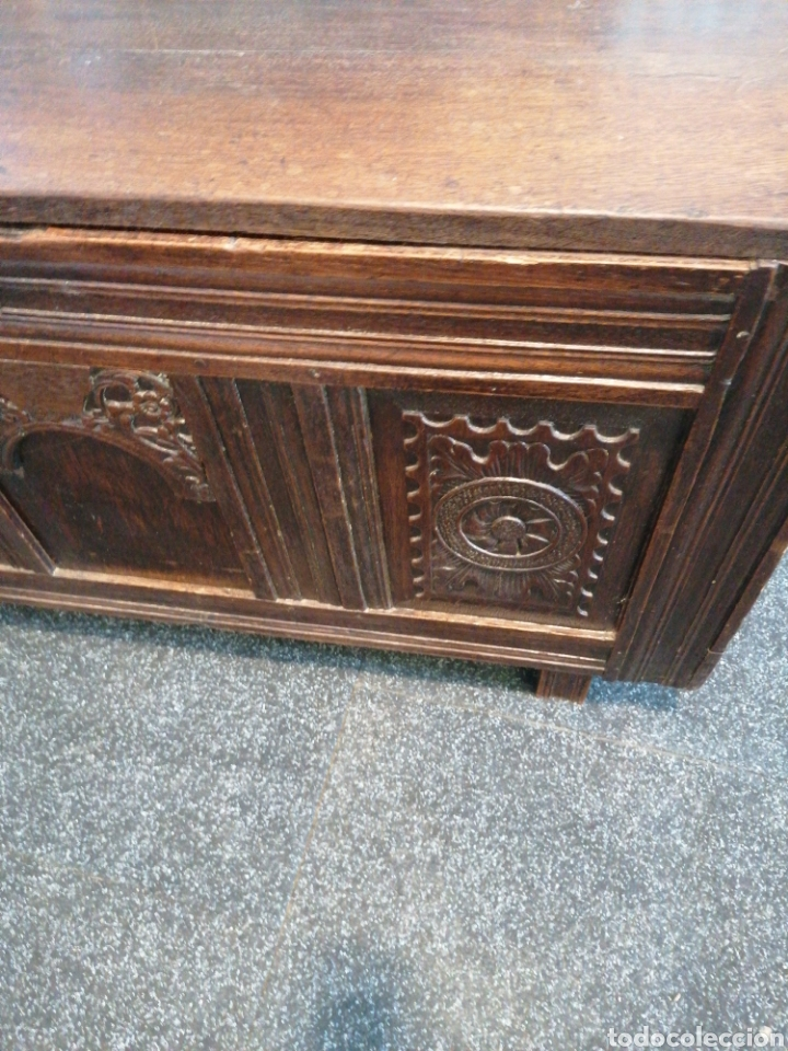 Antigüedades: Arca de roble macizo tallado - Foto 2 - 174437757