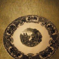 Antigüedades: ANTIGUA FUENTE REDONDA PICKMAN S.A. SEVILLA CARTUJA,DECORACIÓN EN NEGRO.. Lote 174458663