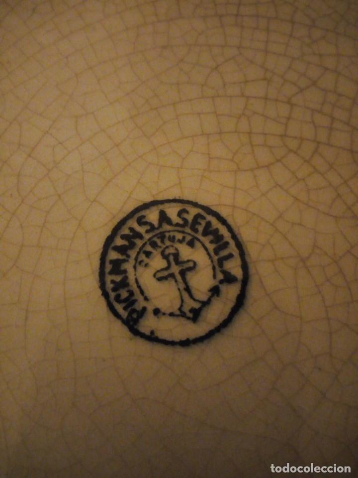 Antigüedades: Antigua fuente redonda pickman s.a. sevilla cartuja,decoración en negro. - Foto 5 - 174458663