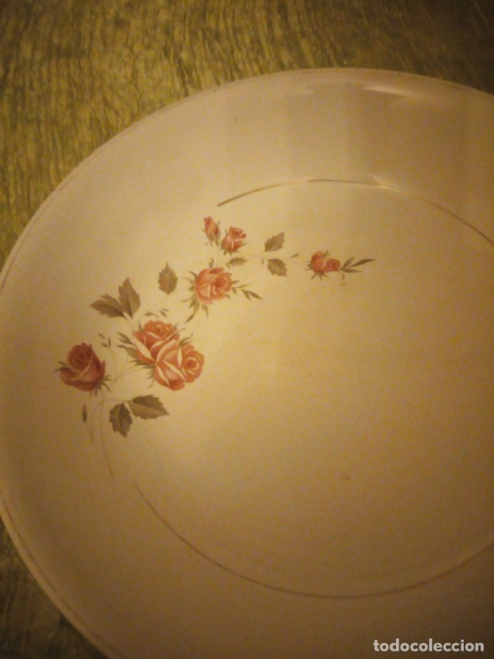 Antigüedades: Antigua ensaladera de cerámica la cartuja pickman,decoración rosas. - Foto 2 - 174458882
