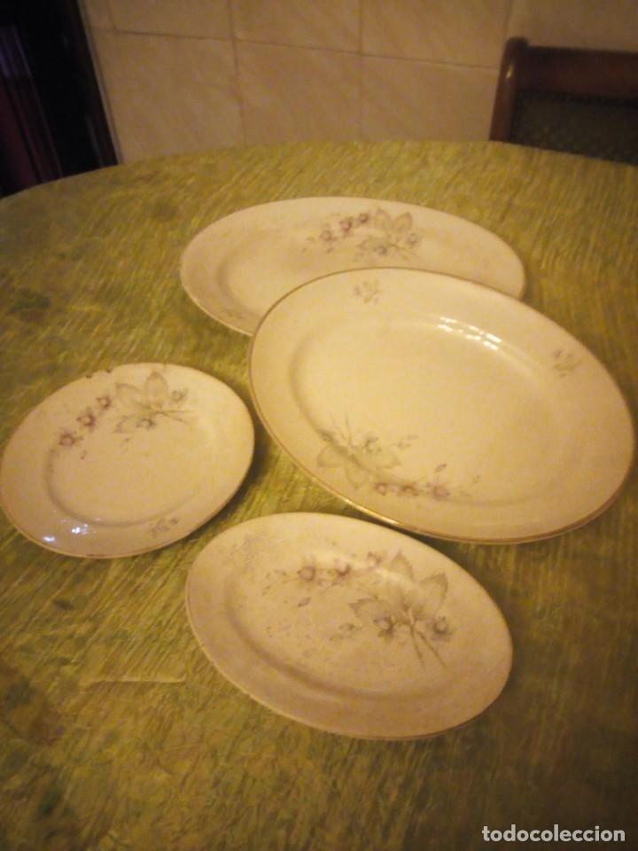 Antigüedades: Lote de 3 fuentes y 1 plato de cerámica la cartuja pickman,motivo floral,siglo xix - Foto 3 - 174459229