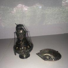 Antigüedades: RECUERDOS DE SANTIAGO DE METAL PLATEADO. Lote 174460175