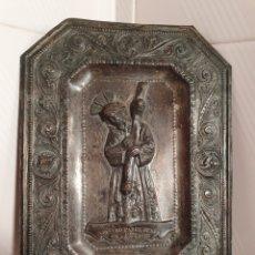 Antigüedades: PLACA EN RELIEVE DE NUESTRO PADRE JESUS DEL GRAN PODER CON BAÑO DE PLATA. Lote 118824336