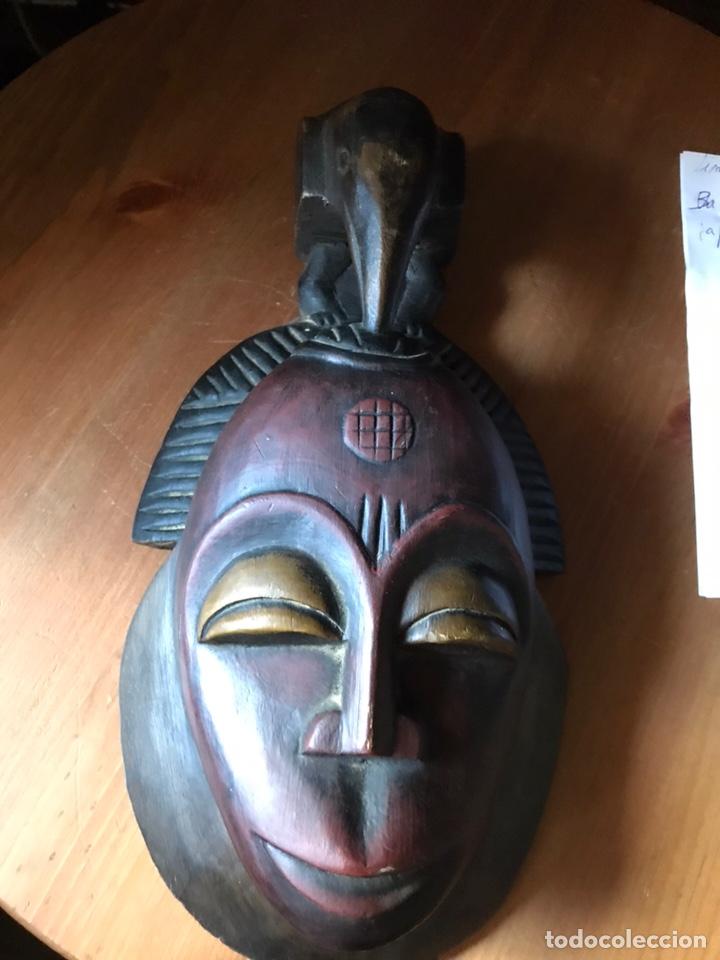 MÁSCARA DE MADERA AFRICANA (Antigüedades - Hogar y Decoración - Figuras Antiguas)