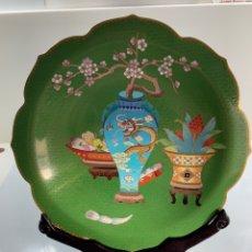 Antigüedades: PLATO DE METAL ESMALTADO CLOISONNÉ CHINO CON PEANA. Lote 174464063