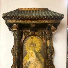 Antigüedades: ANTIGUO RETABLO CAPILLA VIRGEN ESPERANZA MACARENA DE SEVILLA - MEDIDA 50X36 CM RELIGIOSO. Lote 174493958