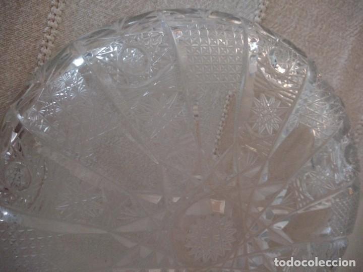 Antigüedades: Cristal de Bohemia plato de aperitivos,talla estrella diamante, república checa - Foto 3 - 174527252