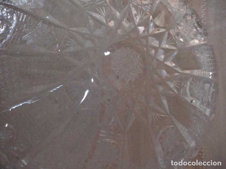 Antigüedades: Cristal de Bohemia plato de aperitivos,talla estrella diamante, república checa - Foto 4 - 174527252