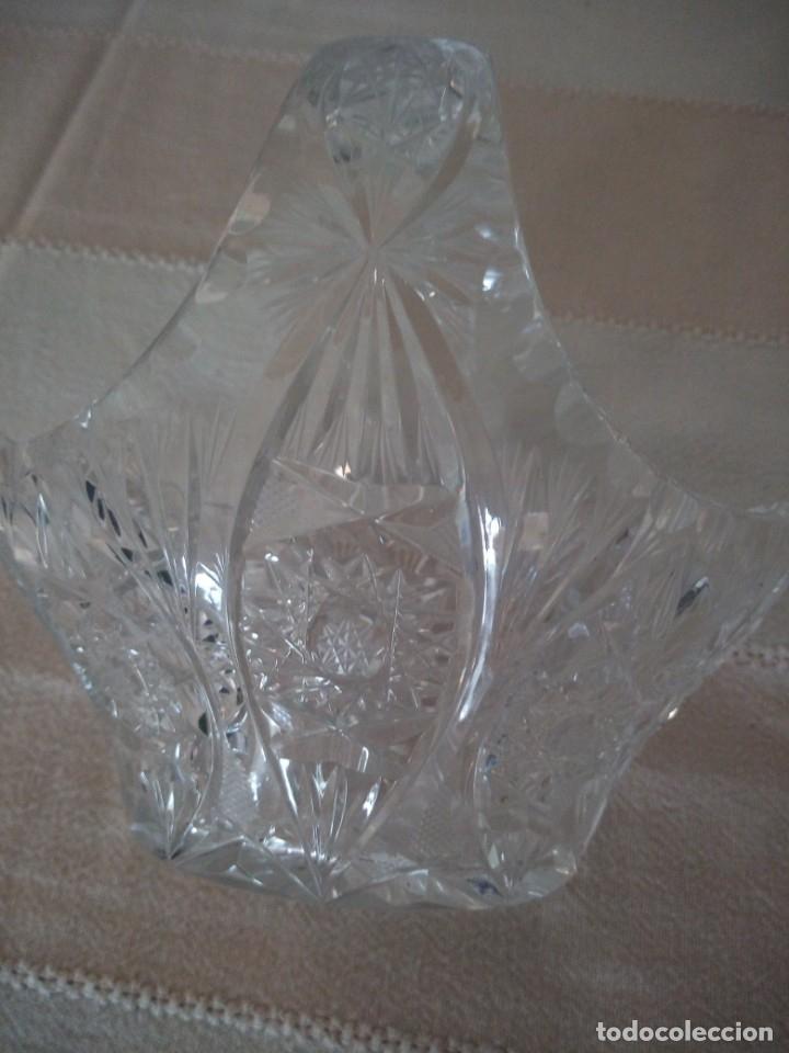 Antigüedades: Cristal de Bohemia cesto de caramelos talla estrella diamante, república checa - Foto 4 - 174527399