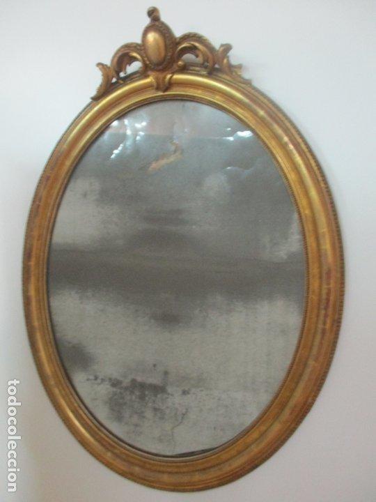 Antigüedades: Espejo, Cornucopia - Madera Tallada y Dorada, en Pan de Oro - Espejo Plateado Original - S. XIX - Foto 13 - 174555743