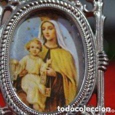 Antigüedades: ANTIGUO PORTAFOTOS DE LA VIRGEN DEL CARMEN Y CON JESUS. Lote 174595704