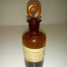 Antigüedades: FRASCO DE FARMACIA. TARRO DE CRISTAL DE ALCOHOL 96 ° . LO. M MONEDERO. FARMACIA PLAZA DE FRANCO. Lote 174619159