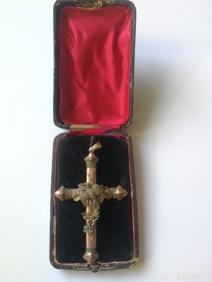 ANTIGUA CRUZ DE ROSARIO - PARECE EN COBRE - GRAN TRABAJO EN MINIATURA FLORAL Y CON GRAN DETALLE Y PA (Antigüedades - Religiosas - Rosarios Antiguos)