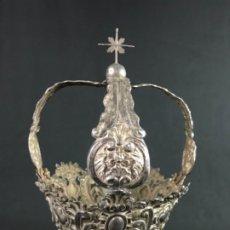 Antigüedades: IMPORTANTE( 26CM ALT. X 19CM DIAMT.) CORONA EN PLATA DE LEY PUNZONADA VALLADOLID S.G.XVIII. Lote 174704909