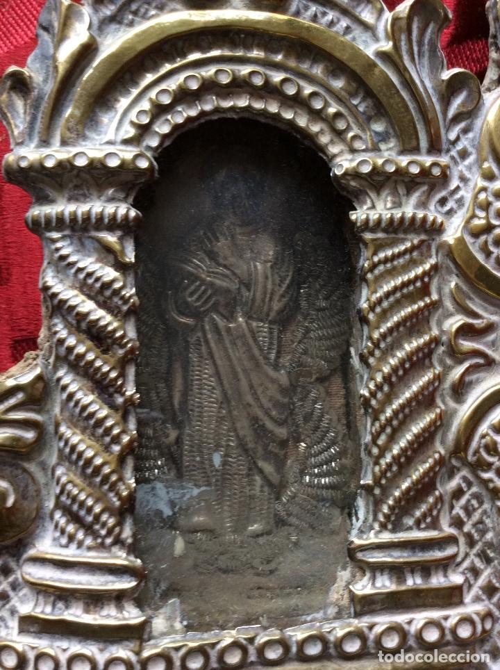 Antigüedades: RELICARIO-CUSTODIA METAL PLATEADO SIGLO XVIII,RELIQUIAS SAN ANTONIO-S.EVARISTO Y S.VICENTE-47X20 cm - Foto 12 - 174957287