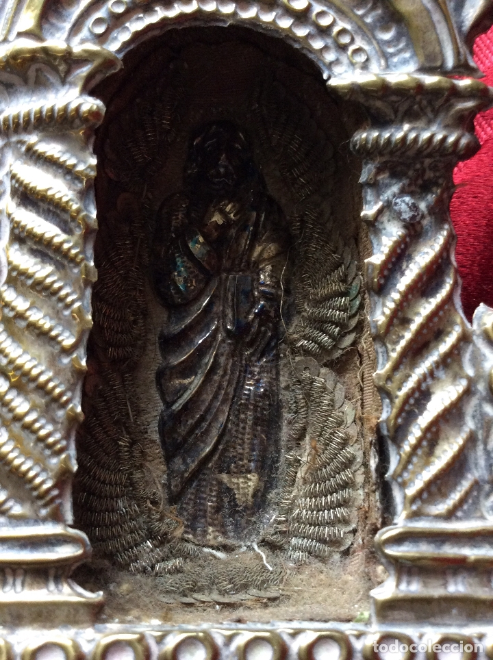 Antigüedades: RELICARIO-CUSTODIA METAL PLATEADO SIGLO XVIII,RELIQUIAS SAN ANTONIO-S.EVARISTO Y S.VICENTE-47X20 cm - Foto 13 - 174957287