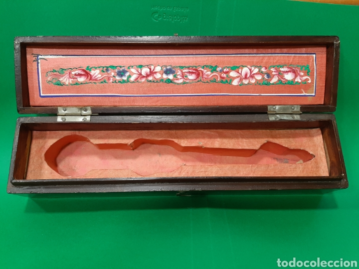 Antigüedades: ANTIGUA CAJA DE ABANICO EN MADERA LACADA. CANTON (CHINA), SIGLO XIX. - Foto 4 - 174975054