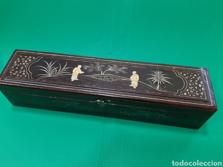 ANTIGUA CAJA DE ABANICO EN MADERA LACADA. CANTON (CHINA), SIGLO XIX. (Antigüedades - Moda - Abanicos Antiguos)
