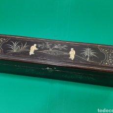 Antigüedades: ANTIGUA CAJA DE ABANICO EN MADERA LACADA. CANTON (CHINA), SIGLO XIX.. Lote 174975054