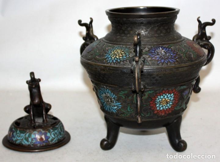 Antigüedades: PEBETERO CHINO EN BRONCE Y ESMALTE CLOISONNE, CHINA, SIGLO XIX. - Foto 2 - 174989064