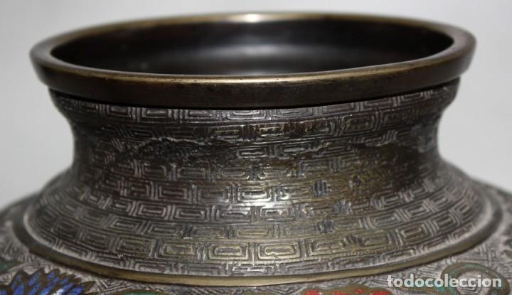 Antigüedades: PEBETERO CHINO EN BRONCE Y ESMALTE CLOISONNE, CHINA, SIGLO XIX. - Foto 6 - 174989064