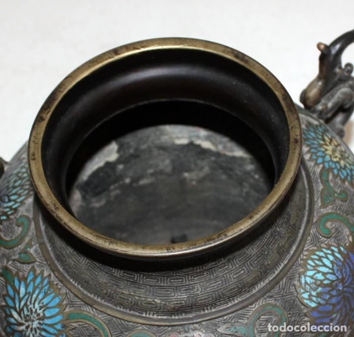 Antigüedades: PEBETERO CHINO EN BRONCE Y ESMALTE CLOISONNE, CHINA, SIGLO XIX. - Foto 7 - 174989064
