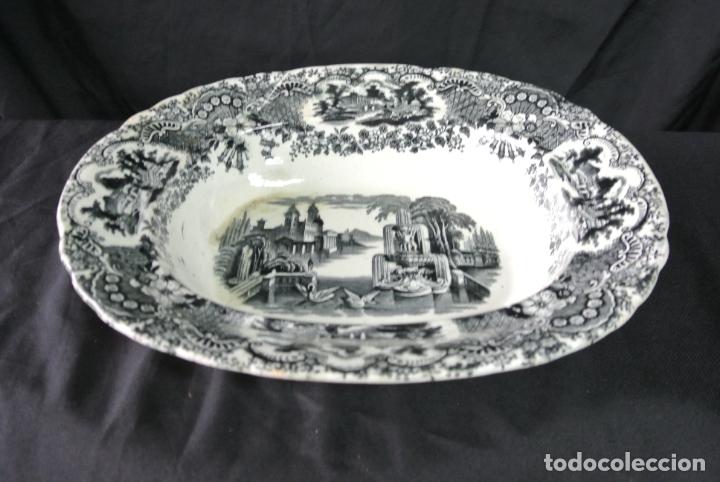 Antigüedades: Antigua bandeja de cerámica, ovalada. Pickman. La cartuja - Foto 3 - 174990790