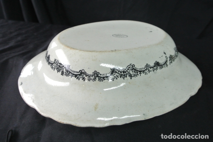 Antigüedades: Antigua bandeja de cerámica, ovalada. Pickman. La cartuja - Foto 5 - 174990790