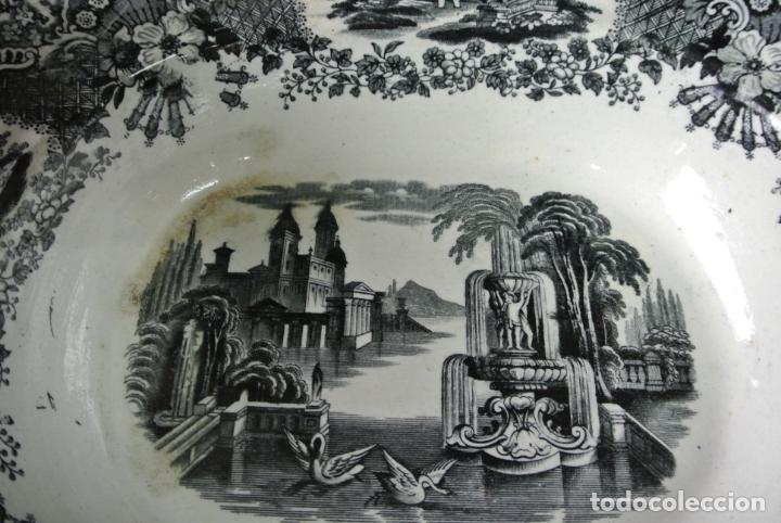 Antigüedades: Antigua bandeja de cerámica, ovalada. Pickman. La cartuja - Foto 6 - 174990790