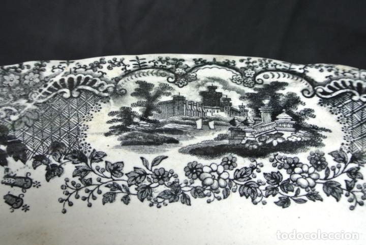 Antigüedades: Antigua bandeja de cerámica, ovalada. Pickman. La cartuja - Foto 9 - 174990790