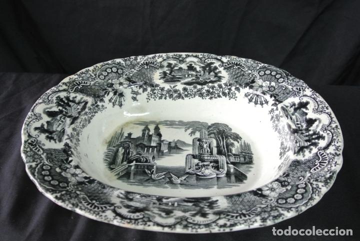 Antigüedades: Antigua bandeja de cerámica, ovalada. Pickman. La cartuja - Foto 12 - 174990790