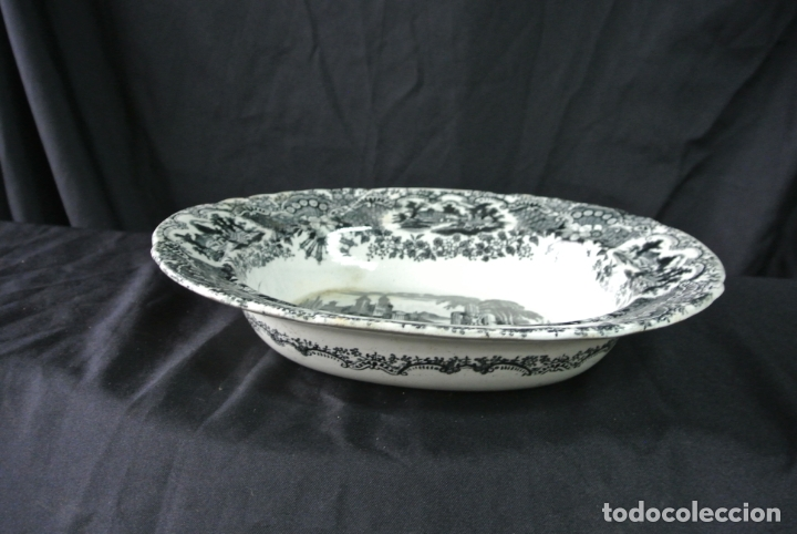 Antigüedades: Antigua bandeja de cerámica, ovalada. Pickman. La cartuja - Foto 13 - 174990790