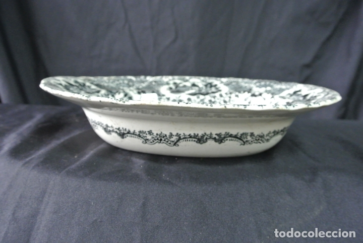 Antigüedades: Antigua bandeja de cerámica, ovalada. Pickman. La cartuja - Foto 14 - 174990790