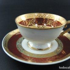 Antigüedades: MAGNIFICO JUEGO DE TE O CAFE TAZA CON PLATO PORCELANA LIMOGES PRECIOSO DESEÑO. Lote 175017713