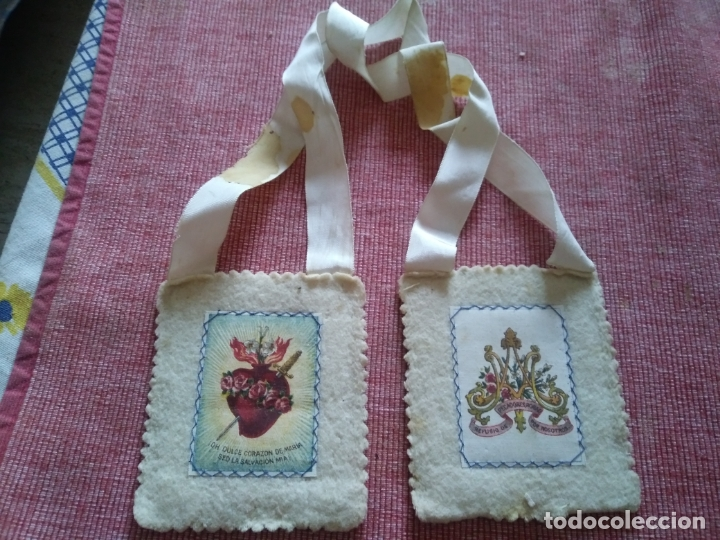 Antigüedades: Escapulario sagrado corazon de maria - Foto 2 - 175017743
