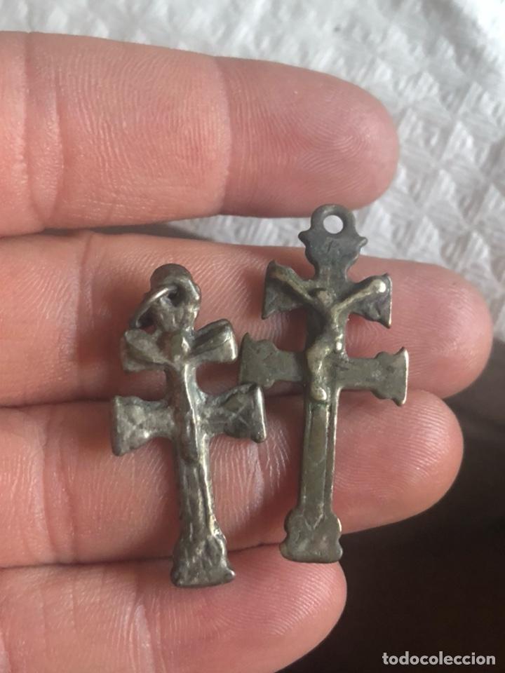 MAGNIFICO LOTE DE 2 CRUCES DE PLATA, SIGLO XVII (Antigüedades - Religiosas - Crucifijos Antiguos)