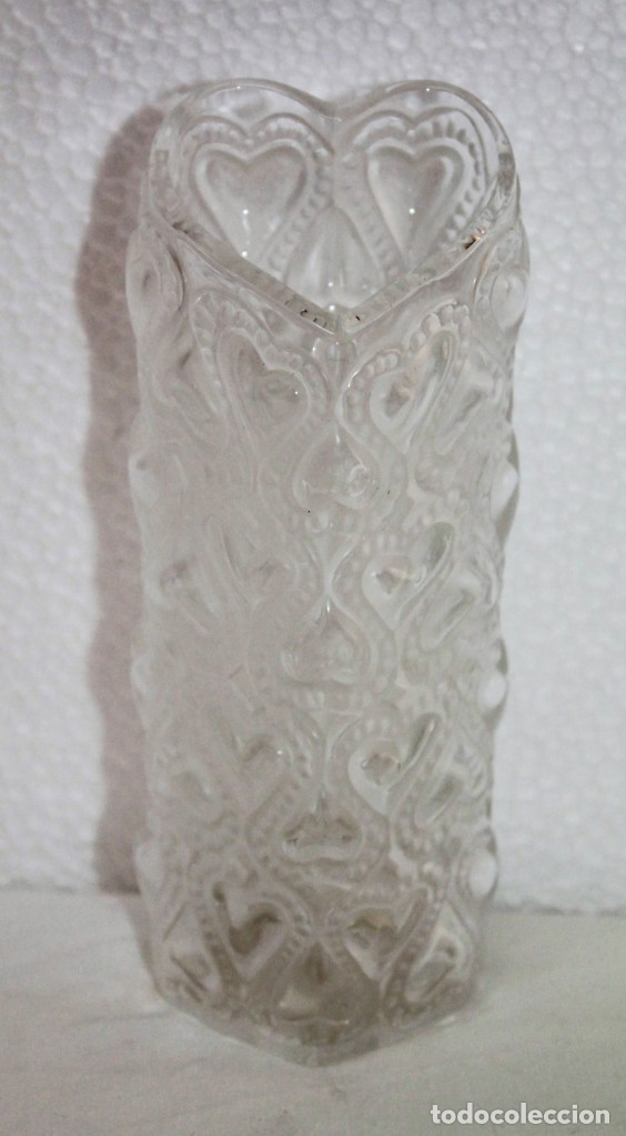 JARRÓN EN CRISTAL FIRMADO LALIQUE FRANCE AMOUR LOVE CON CORAZONES AMOR FRANCIA (Antigüedades - Cristal y Vidrio - Lalique )