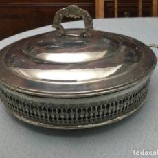 Antigüedades: LEGUMBRERA CON ASAS DE ALPACA, PIREX EN EL INTERIOR RECIPIENTE CON ASAS Y ASIDERO . Lote 175042364
