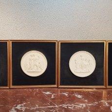 Antigüedades: LOTE DE 4 PLAFONES / PLACAS DE GALLETAS DE BISCUIT ROYAL COPENHAGEN DENMARK / DIMANARCA MITAD S. XX. Lote 175074892