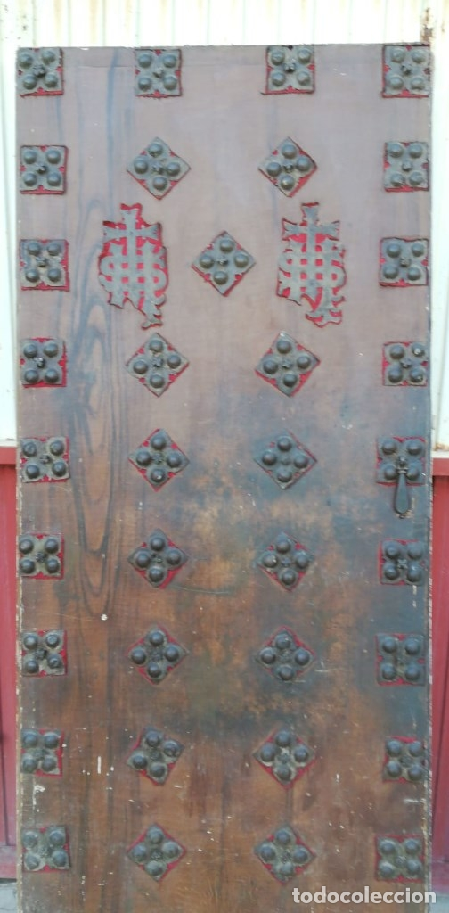 Antigüedades: PUERTA ANTIGUA CONFECCIONADA DE CLAVOS ANTIGUOS DE FORJA DE 9 X 9 CMS. CON 47 CLAVOS CURIOSA - Foto 2 - 175090832