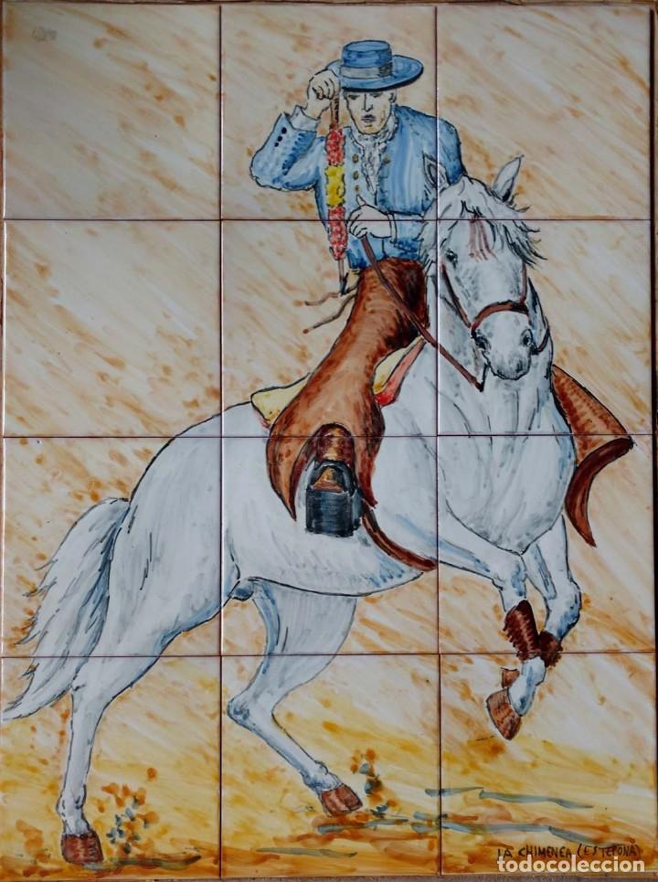 REJONEADOR 4X3 (Antigüedades - Porcelanas y Cerámicas - Azulejos)