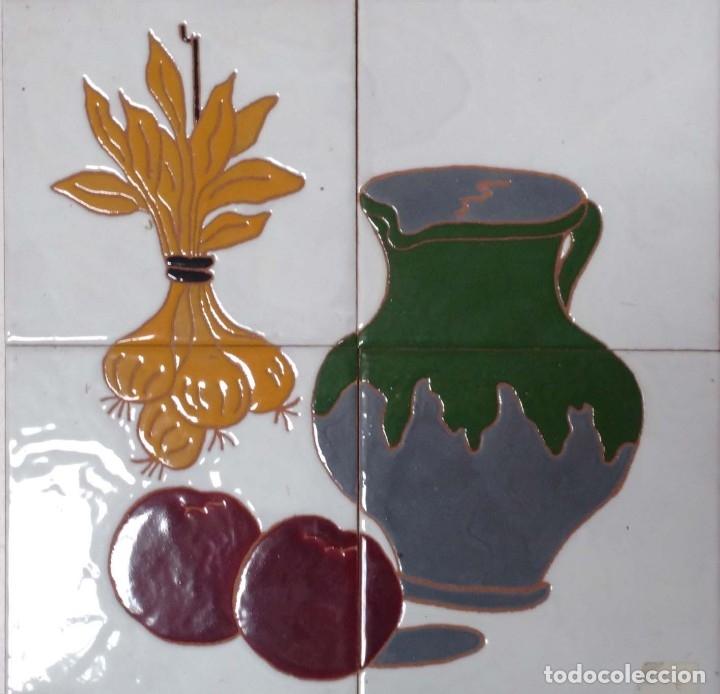 BODEGÓN CUERDA SECA 2X2 (Antigüedades - Porcelanas y Cerámicas - Azulejos)