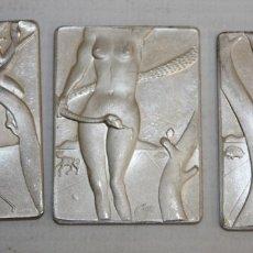 Antigüedades: 3 MEDALLONES DE SALVADOR DALI EN PLATA DE 999 MILESIMAS. ADAN, EVA Y EL PECADO ORIGINAL. AÑO 1980. Lote 175115203